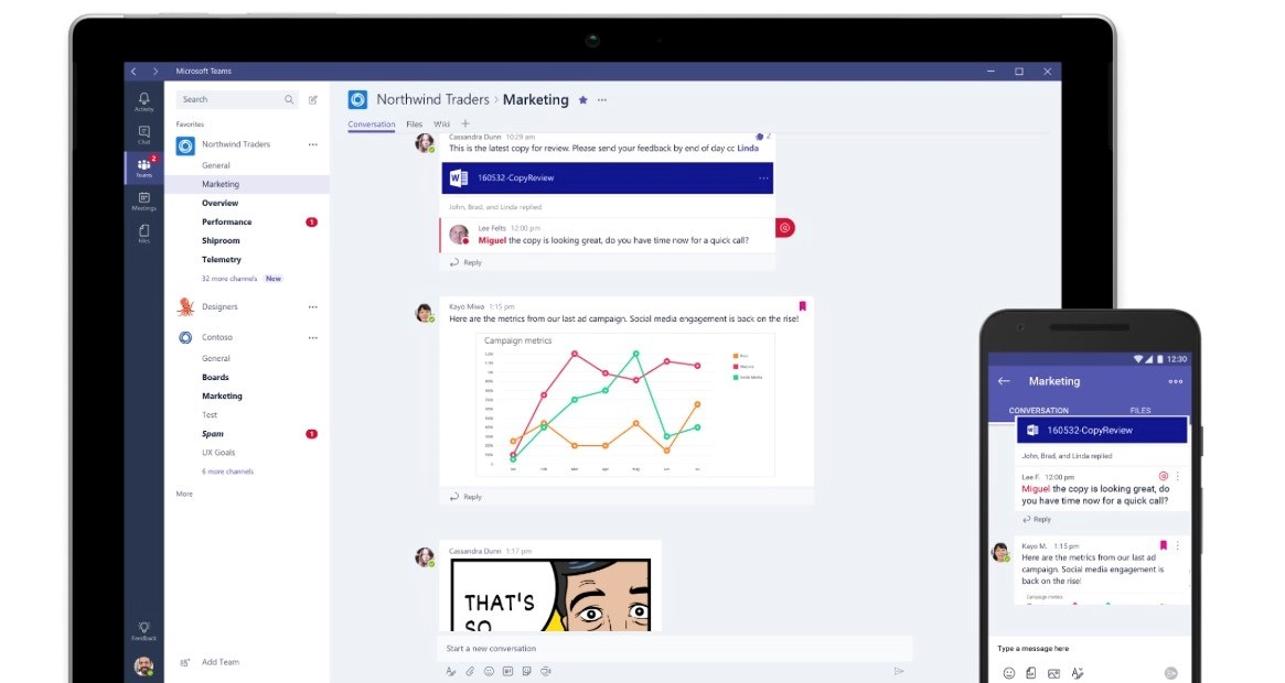Screenshots of Microsoft Teams across mobile and tablet devices