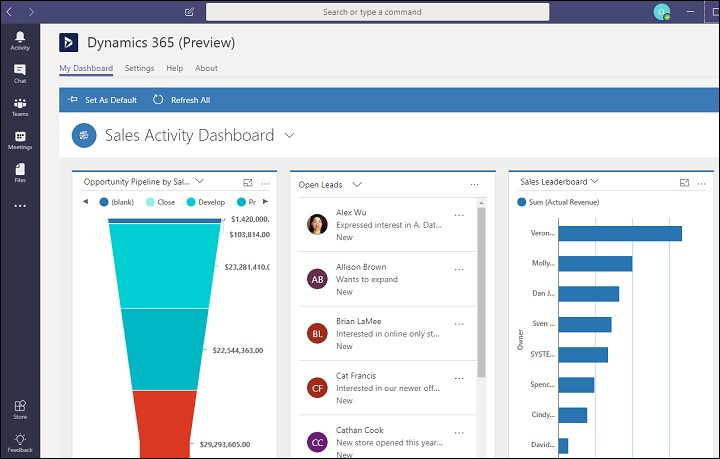 Dynamics 365 integrated with Microsoft Teams
