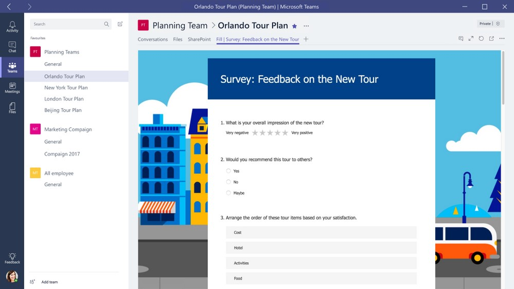 Forms integrated with Microsoft Teams