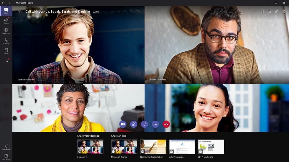 Screenshot of a video chat/meeting in Microsoft Teams
