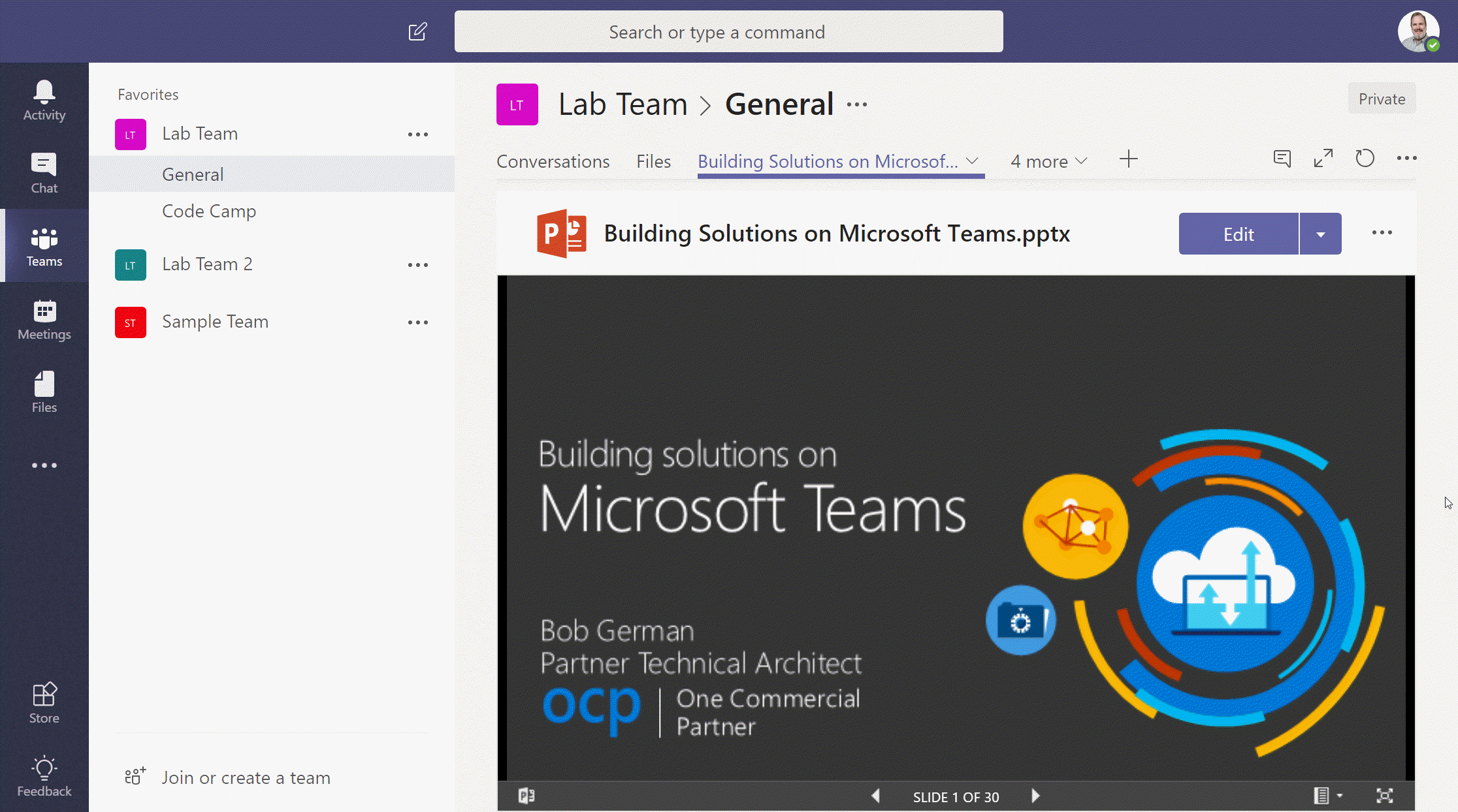 SharePoint file embedded into a Microsoft Teams tab