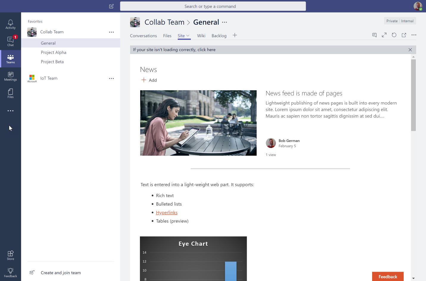 A SharePoint news site embedded into a Microsoft Teams tab